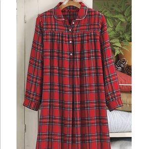 Country Store Flannel Plaid Button Front Nightgown